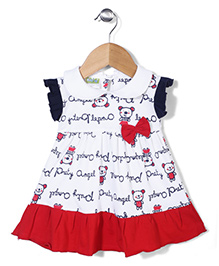 Babyhug Flutter Sleeves Printed Frock With Bow Applique - White And Red