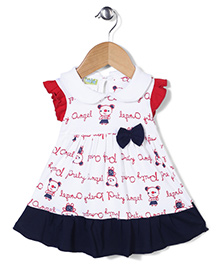 Babyhug Flutter Sleeves Printed Frock With Bow Applique - White And Navy Blue