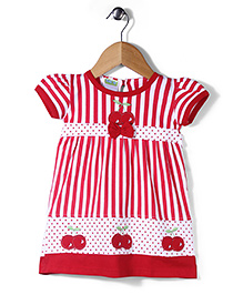 Babyhug Short Sleeves Frock Vertical Stripes Print - White & Red