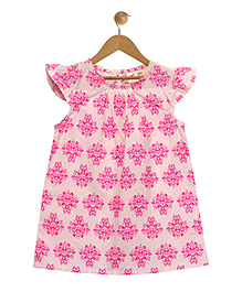 Budding Bees Pretty A-Line Floral Print Dress - Pink