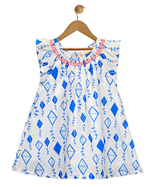Budding Bees Embroidered A- Line Dress - Blue
