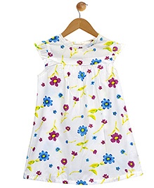 Budding Bees Beautiful A-Line Floral Dress - White