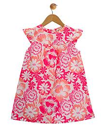 Budding Bees A-Line Short Sleeve Floral Print Dress - Pink