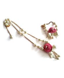 Soulfulsaai Rose Long Necklace And Bracelet Set - Pink