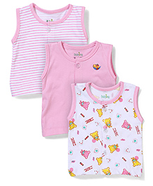 Babyhug Sleeveless Vests Pack of 3 Multi Print - White and Pink