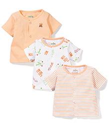 Babyhug Half Sleeves Vests Pack of 3 - White and Peach
