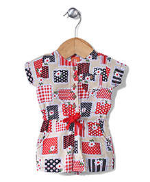 Yellow Duck Short Sleeves Dot and Floral Print Jumpsuit - Red and Cream