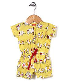 Yellow Duck Short Sleeves Elephant Print Jumpsuit - Yellow