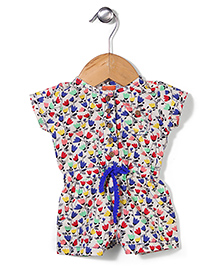 Yellow Duck Short Sleeves Floral Print Jumpsuit - Cream & Blue