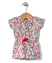Yellow Duck Short Sleeves Floral Print Jumpsuit - Cream and Red