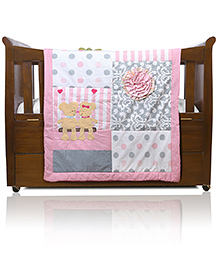 Baby Oodles Baby Comforter Rose And Bear Theme - Multi Color