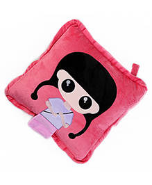 Baby Oodles Cushion Cum Quilt Japanese Doll Applique - Pink