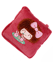 Baby Oodles Cushion Cum Quilt Hairy Doll Applique - Red