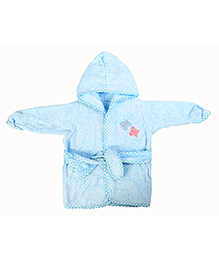 Baby Oodles Full Sleeves Bathrobe Butterfly Patch - Blue