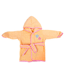 Baby Oodles Full Sleeves Bathrobe Butterfly Patch - Peach