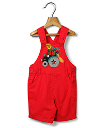 Beebay Dungaree With Crane Embroidery - Red