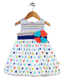 Yellow Duck Sleeveless Frock Dotted Print - Multi Color