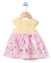 Yellow Duck Short Sleeve Frock Striped & Printed - Pink & Yellow