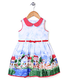 Yellow Duck Sleeveless Frock House Print - Blue and Coral