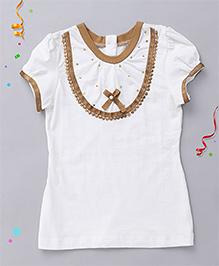 Babyhug Puff Sleeves Top Sequin Embellishment - White Golden