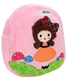 Girl Embroidery School Bag - Pink And Green