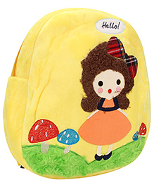 Girl Embroidery Soft Toy Bag - Yellow