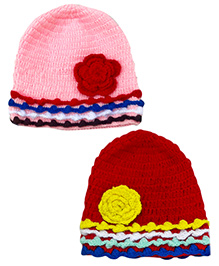 MayRa Knits Crochet Pack Of 2 Floral Caps - Pink & Red