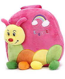 Caterpillar Applique Embroidery Soft Toy Bag Pink - 11 Inches