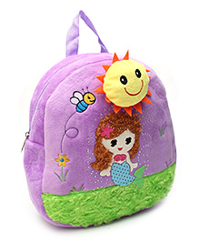 Mermaid Embroidery Soft Toy Backpack - Purple