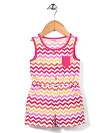Beebay Sleeveless Chevron Print Jumpsuit - Pink
