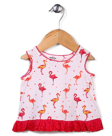 Beebay Sleeveless Top Crane Bird Print - Pink & Red