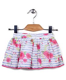 Beebay Rose Print Skirt - Pink & White