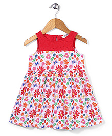 Beebay Sleeveless Floral Printed Gather Frock - Red