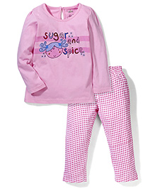 Babyhug Full Sleeves Night Suit Sugar & Spice Print - Pink