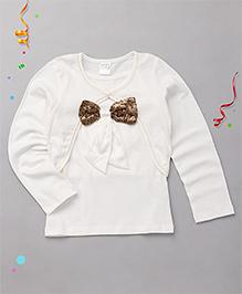 Babyhug Singlet Party Top With Shrug Bow Applique - White