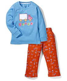 Babyhug Full Sleeves Night Suit Truck Print - Blue & Orange