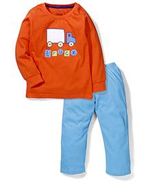 Babyhug Full Sleeves Night Suit Vehicle Print - Orange & Blue