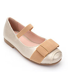 Little Paws Ballerina Shoes With Bow - Light Gold