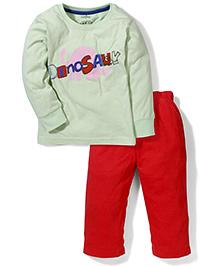 Babyhug Full Sleeves Night Suit Dinosaur Print - Light Green & Red