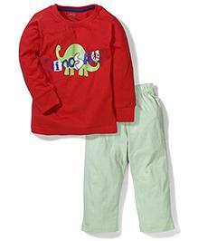 Babyhug Full Sleeves Night Suit Dinosaur Print - Red & Light Green