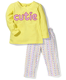 Babyhug Full Sleeves Night Suit Cutie Print - Yellow & White