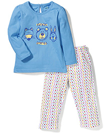 Babyhug Full Sleeves Night Suit Forest Friends Print - Blue & White
