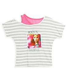 Barbie Half Sleeves T-Shirt Rock N Sparkle Print - Grey and Pink