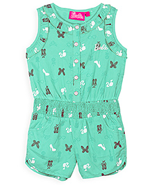 Barbie Sleeveless Jumpsuit Butterfly Print - Green