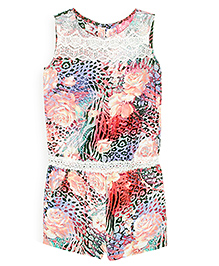 Barbie Sleeveless Jumpsuit Floral Print - Multi Color