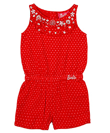 Barbie Sleeveless Jumpsuit Hearts Print - Red
