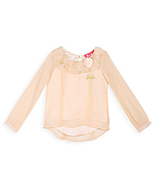 Barbie Full Sleeves Top Floral Applique - Peach