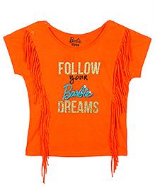 Barbie Half Sleeves T-Shirt Follow Your Dream Print - Orange