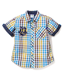 Babyhug Half Sleeves Shirt Checks Print - Blue Yellow