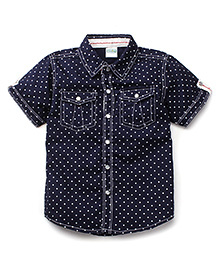 Babyhug Half Sleeves Shirt Dot Print - Navy